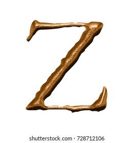 Rough textured copper metal uppercase or capital letter Z in a 3D illustration with a rich bronze color and chiseled aged metallic jagged style font isolated on a white background with clipping path.