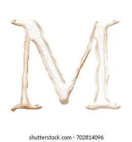 Rough textured rose gold metallic uppercase or capital letter M in a 3D illustration with a rustic texture and shiny metal surface style classic font isolated on a white background with clipping path.