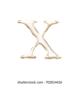 Rough textured rose gold metallic lowercase or small letter X in a 3D illustration with a rustic texture and shiny metal surface style classic font isolated on a white background with clipping path.