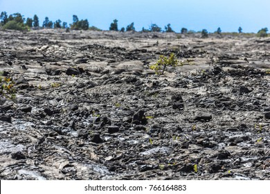 Rough volcanic lava landscape in volcano national park, Hawaii