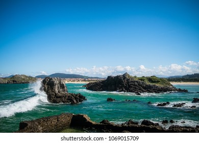 Rough waves in Cantabria in the north of Spain