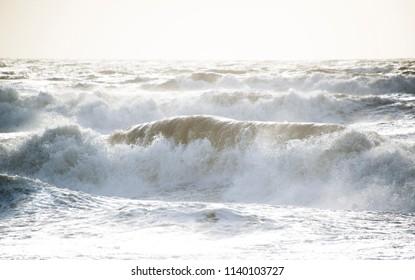Rough white water, ocean storm.