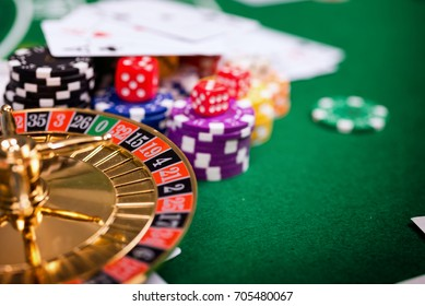 Roulette in Black Jack casino table with cards and chips.Concept about entertainment and gambling.