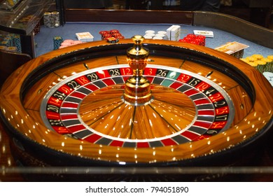 The roulette table in a casino