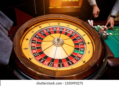 roulette table in casino, top view