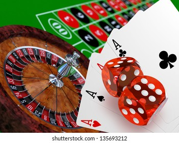 Roulette with table, dices and playing cards concept, 3d render