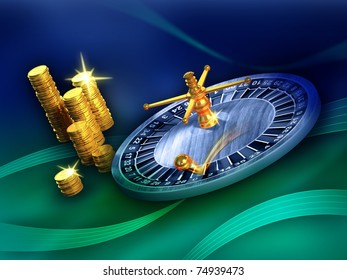 Roulette wheel and some gold coins on a blue and green background. Digital illustration.