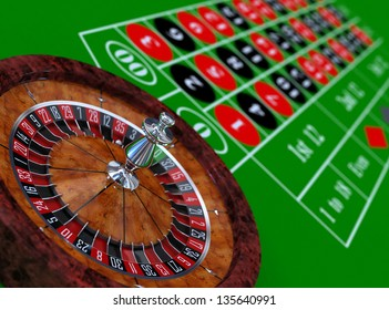 Roulette wheel and table 3d illustration