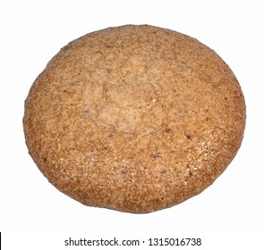 Round almond cake bread isolated on white background