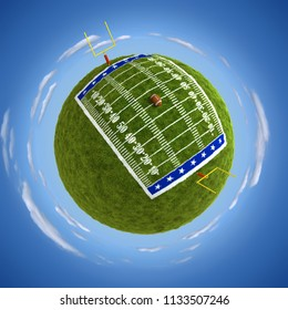 Round american football field on the globe - 3D illustration