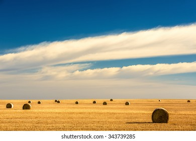 Round bales fill a field wheat field on the northern Great Plains as the last relative warmth of autumn lingers.