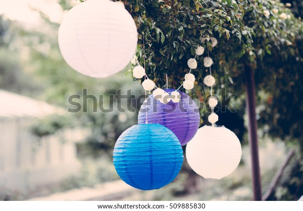 round balloons hanging from tree, Paper lantern lamp wedding decoration, shallow focus