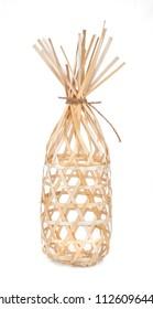 round bamboo basket isolated on white background
