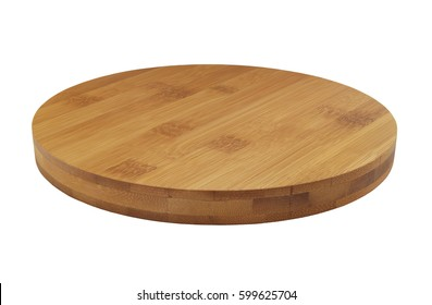 Round bamboo cutting board isolated on white background