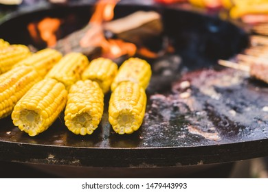 Round barbecue grill with open fire inside. Meals for summer picnic are being prepared: corn, eggplant, bell pepper, kebab