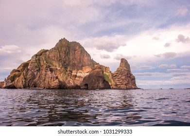 Round the beautiful island Dokdo.by boat. Dokdo is the east end territory of Republic of Korea.