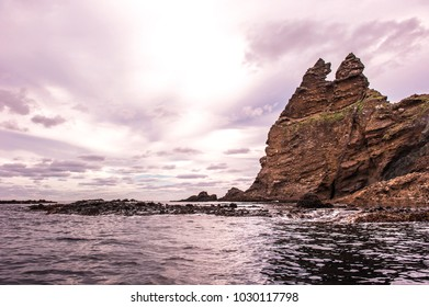 Round the beautiful island Dokdo by boat.Dokdo is the east end territory of Republic of Korea.