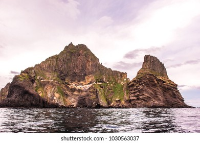 Round the beautiful island .Dokdo. by boat. Dokdo is the east end territory of Republic of Korea.