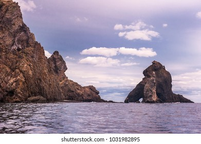 Round the beautiful island Dokdo by boat. Dokdo is the east end territory of Republic of Korea.