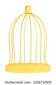 Round birdcage in front of white background.