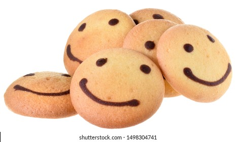 Round biscuit with smile image isolated on white background.