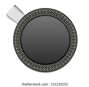 Round black denim fabric badge with a white ribbon tag - raster version