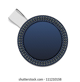 Round blue denim fabric badge with a white ribbon tag - raster version