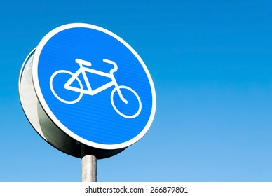 """Round blue road sign """"cycle track"""""""