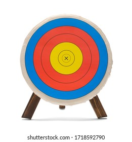 Round Bow and Arrow Archery Target Isolated on White.