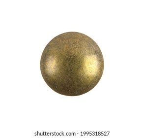 Round Brass Thumbtack Cut Out on White.