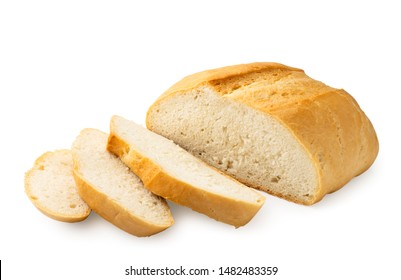 Round bread sliced on a white background. Isolated