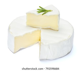 Round brie or camambert cheese on a white background