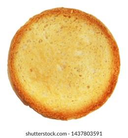 Round brioche bread toasts isolated on white background