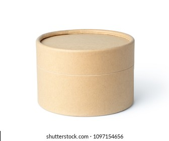 Round brown paper box isolated on white background
