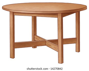 Round brown table with four legs.