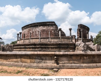 A round building called vatadage, which once held th famous tooth of Buddha. At Polonnaruwa, Shri lanka