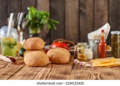 round buns with sesame -  bun pastries (sandwich) - cuisine.  Food background