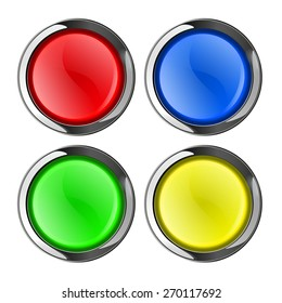 Round  buttons. Web icon with metallic frame. isolated on white background. Raster version