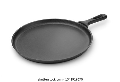 Round cast iron griddle pan isolated on white