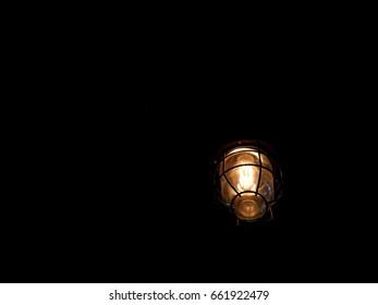 round Ceiling light on dark background