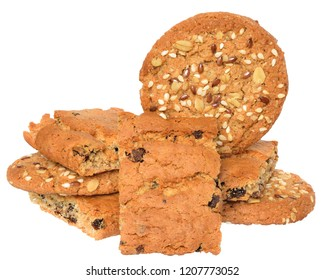 Round cereal biscuits with sunflower seeds, cunate, flax and oat flakes isolated on white background.