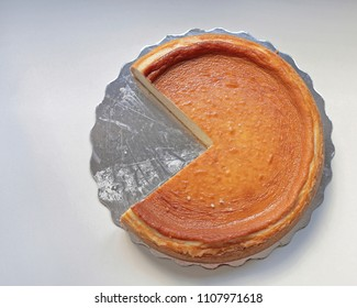 Round Cheese Cake Without One Missing Slice
