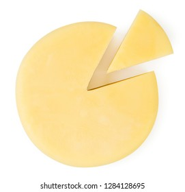 Round cheese and a slice on a white background. The form of the top.