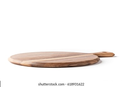 Round Cheese/Pizza board from side on a white background