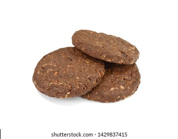 Round chocolate whole wheat biscuit, cookie with raisins isolated on white background. Chocolate Biscuits with whole-wheat (wholemeal) flour isolated on white background