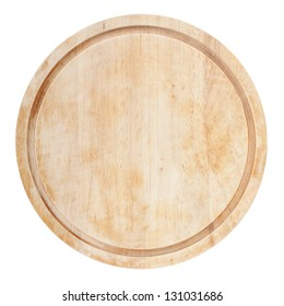 Round chopping board. Isolated on white background. View from above