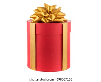 round christmas gift box with a gold ribbon bow, isolated on white.