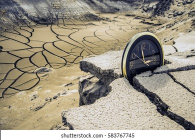 round circle black clock stand on cracked dry soil in desert land. apocalypse, ecological catastrophe in nature. global warming. Environment,Concept. lost time is money
