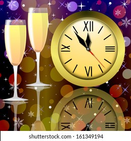 round clock and two glasses with champagne on a bright abstract background, illustration