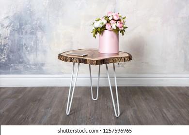 Round coffee table Live Edge of a walnut. slab wood
